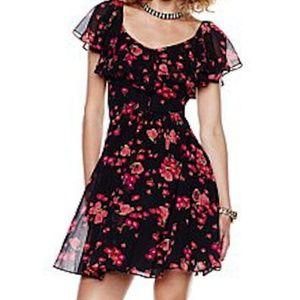 Betsey Johnson Flutter Sleeve Floral Print Dress